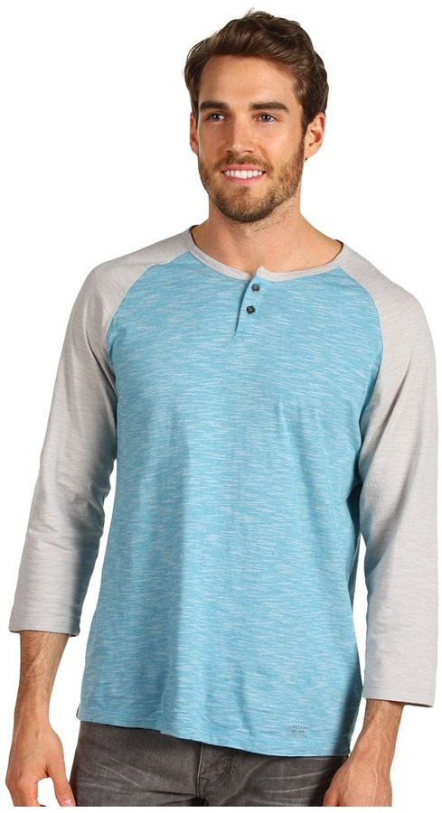 Calvin Klein Jeans L/S Henley Novelty Baseball Top (Blue Moon) - Apparel