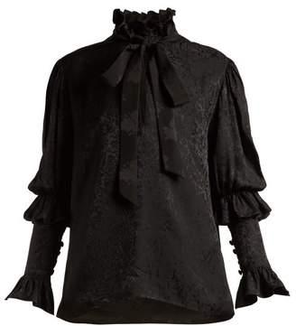 Saint Laurent Pussy Bow Floral Jacquard Blouse - Womens - Black