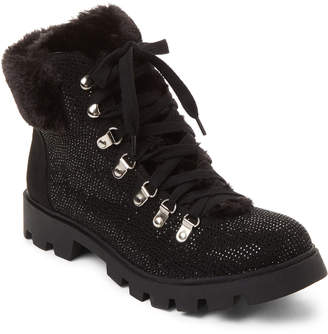 Lust For Life Black Frosty Embellished Lace-Up Boots
