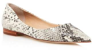 Aqua Women's Abel Snake-Embossed Leather Pointed Toe Flats - 100% Exclusive