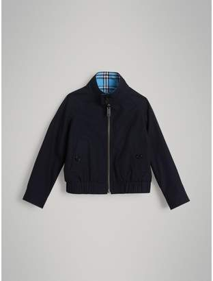 Burberry Reversible Check Cotton Harrington Jacket , Size: 6Y, Blue
