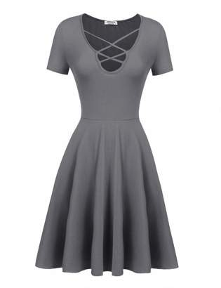 HOTOUCH Summer Short Sleeve Tunic Knee Length Dresses for Women S