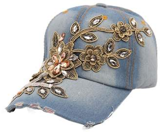 D.E.P.T FIST BUMP Women Denim Jean Baseball Cap Bling Diamond Flower Pattern Adjustable Sun Visor