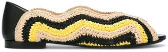 Fendi peep toe ballerina shoes