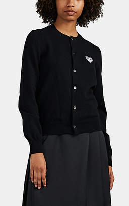 Comme des Garcons Women's Heart-Patch Wool Cardigan - Black