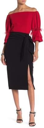 Gracia Slit Tie-Waist Black Skirt