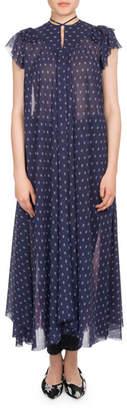 Balenciaga Cap-Sleeve Mixed-Print Chiffon Midi Dress