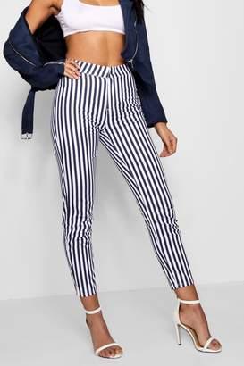boohoo High Waist Striped Skinny Jeans