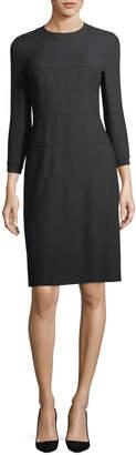Escada 3/4-Sleeve Wool/Cotton A-Line Dress