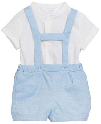3a48af2d1 Mayoral Suspender Shorts w/ Short-Sleeve Top, Size 2-12 Months