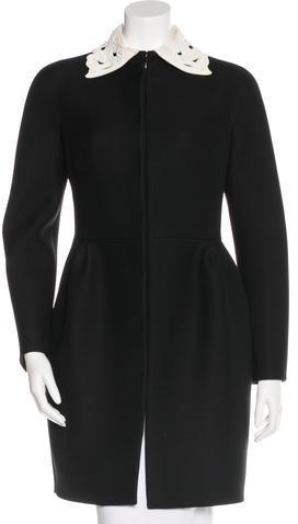 ValentinoValentino Embellished Wool Coat w/ Tags