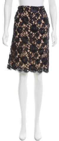 Michael Kors Floral Pattern Lace Skirt