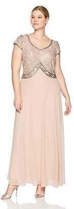 J Kara Women's Plus Size Sweet Heart Neck Long Dress with Beads