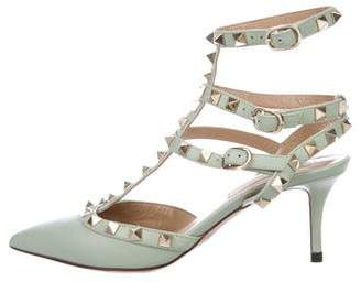 Valentino Rockstud Leather Cage Pumps