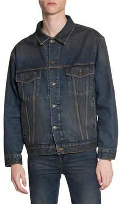 Balenciaga Men's Dirty-Wash Jean Jacket