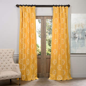 Half Price Drapes Isles Printed Cotton Damask Rod Pocket Single Curtain Panel