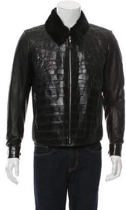 Fredo Ferrucci Mink Fur-Trimmed Alligator Jacket w/ Tags