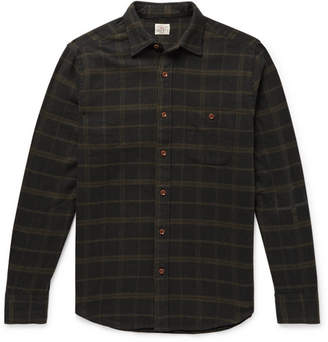 Faherty Seaview Checked Brushed Cotton-Blend Flannel Shirt - Men - Charcoal