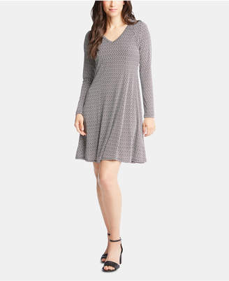 Karen Kane Basketweave Long-Sleeve Dress