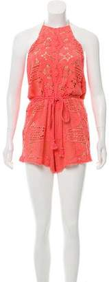 Miguelina Belted Scallop-Lace Romper w/ Tags