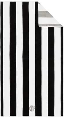Pottery Barn Reversible Awning Stripe Beach Towel- Black/Gray