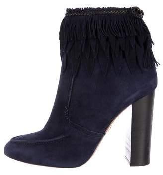 Aquazzura Fringe Suede Ankle Boots