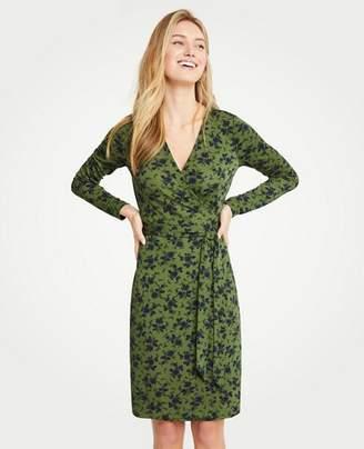 Ann Taylor Petite Alpine Floral Matte Jersey Wrap Dress