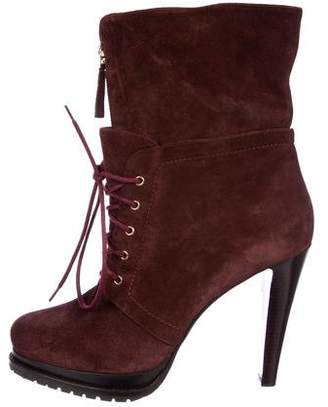 Giorgio Armani Suede Lace-Up Ankle Boots