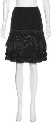 Tuleh Feather-Trimmed Knee-Length Skirt
