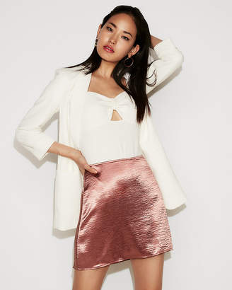 Express Petite High Waisted Satin A-Line Mini Skirt