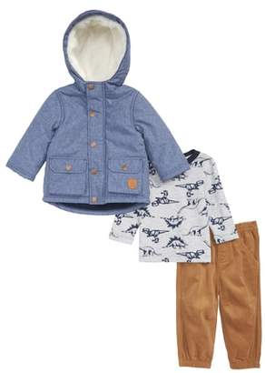 Little Me Chambray Hooded Jacket, Long Sleeve T-Shirt & Corduroy Pants