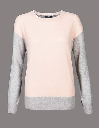 Marks and Spencer Pure Cashmere Oversized Colour Block Jumper