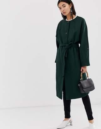 Selected collarless wool coat