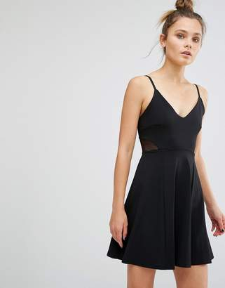 New Look Mesh Insert Strappy Skater Dress