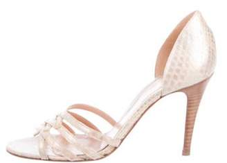 Sergio Rossi Snakeskin d'Orsay Sandals Gold Snakeskin d'Orsay Sandals