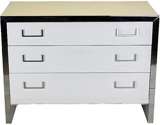One Kings Lane Vintage White Lacquered & Chrome Dresser - Vintage Bella Home