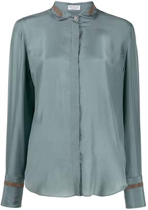 Brunello Cucinelli embellished curved hem shirt