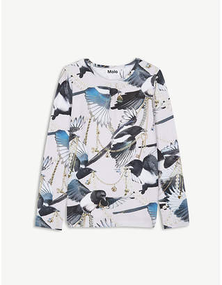 Molo Rose magpie print cotton-blend top 4-14 years