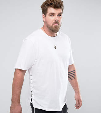 Asos DESIGN PLUS Longline T-Shirt With Curved Hem And Eyelet Side Seam