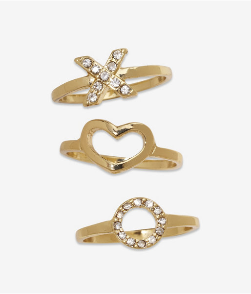 Express Stackable Kiss And Hug Ring Set