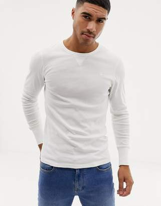 G Star G-Star long sleeve crew neck with exposed seam detail in white