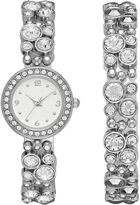 GENEVA Geneva Womens Silver-Tone Glitz Boxed Watch Set