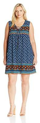 Blu Pepper Women's Plus Allover Border Printed Sleeveless Dress