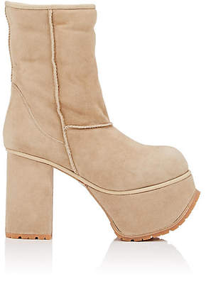 R 13 Women's Shearling-Lined Suede Platform Ankle Boots - Beige, Tan