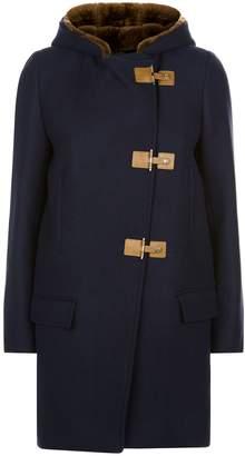 Sandro Wool Shearling Hood Coat