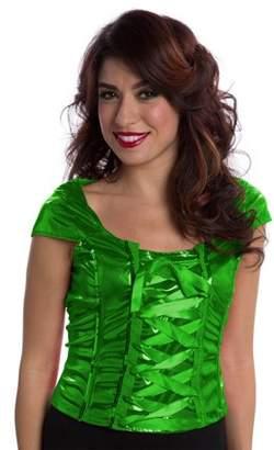 Walmart Halloween Lace-Up Green Top Women's Adult Halloween Dress Up / Role Play Costume