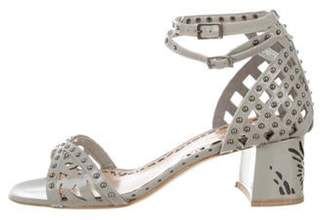 Marchesa Kelly Patent Leather Sandals Grey Kelly Patent Leather Sandals