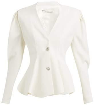 Alessandra Rich Peplum Crystal Button Wool Blazer - Womens - Ivory