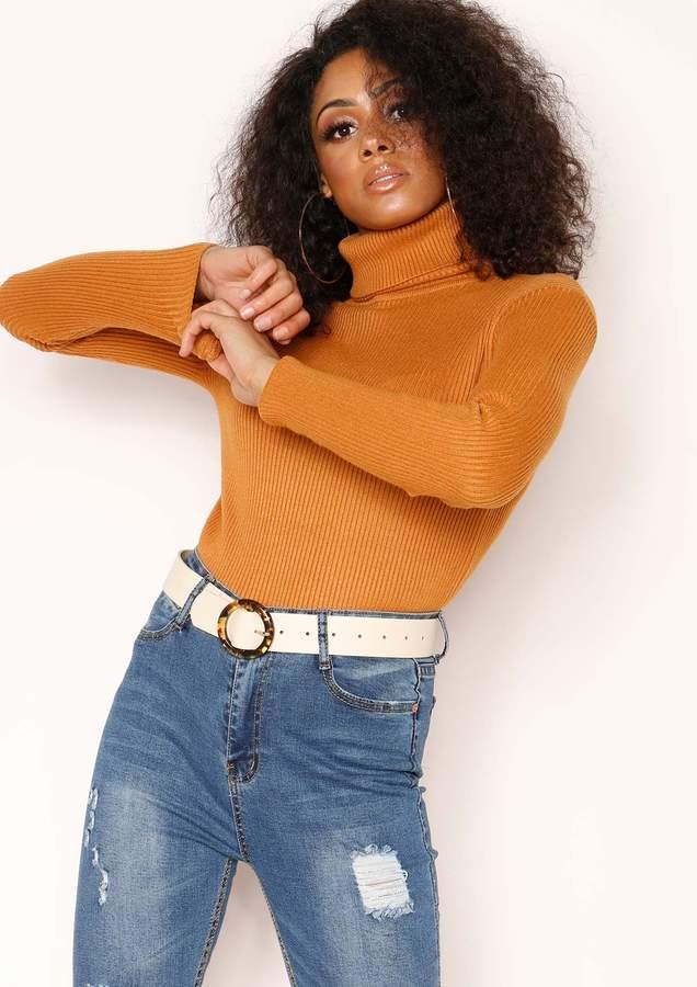 Missyempire Tena Orange Knit Ribbed Roll Neck Jumper