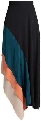 Roksanda Delma contrast-panel fluted silk skirt
